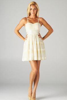 Spring Minuet Sweetheart Lace Strap Skater Dress with Ribbon Detail in Cream