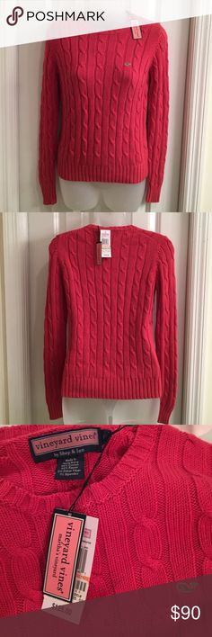 NWT Vineyard Vines by Shep & Ian Size S NWT. Vineyard Vines By Shep & Ian women's S, Kelly Street Cable Sweater, COLOR: Ruby Red, 55% cotton, 42% rayon, 2% other fiber, 1% spandex. Machine wash cold Vineyard Vines Sweaters