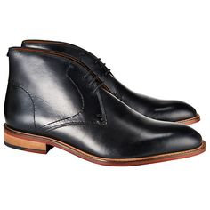 Buy John Lewis Chumbley Refined Leather Chukka Boots, Black Online at johnlewis.com