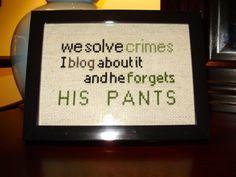 We Solve Crimes Sherlock Geek Cross Stitch by PookieAndPounce, $10.00