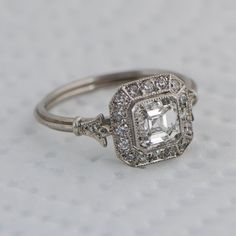 Vintage Asscher Cut Diamond Engagement Ring - Diamond Halo - 1.01 carat - GIA - VS1 clarity - G color - Estate Diamond Jewelry by EstateDiamondJewelry on Etsy
