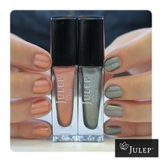 Julep Maven August box - American Beauty! Dakota: Rose-gold metallic chrome,  Stefani: Gold-flecked grey metallic