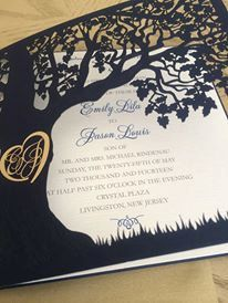 Custom Laser Cut Wedding Invitation, Love Story Tree