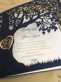 Custom Laser Cut Wedding Invitation, Love Story Tree