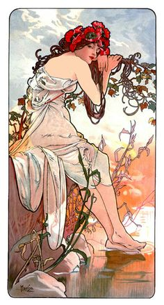 Alphonse Mucha  Czech/French Painter and Printmaker (Art Nouveau)  1860-1939      Summer, 1896     (Private Collection)