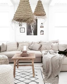 BYPIAS Home inspiration ^ New pillows, poufs, rugs, lampshades soon in webshop!BYPIAS Home Cathegory Chic Beach House, Beach House Decor, Scandinavian Home, Sustainable Living, Lampshades, Boho Decor, Sweet Home, Couch, Pillows