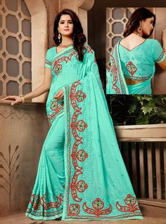 f65f4022d8ca2 Buy Aqua Silk Festival Wear Saree 148480 with blouse online at lowest price  from vast collection