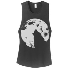 Womens Howling Wolf Moon Desert Wanderer Fashion Boho Gypsy Yoga... ($22) ❤ liked on Polyvore featuring tops, grey, tanks, women's clothing, gray tank top, boho tank, bohemian tops, boho tank tops and yoga tops