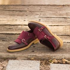 Custom Made Women's Kiltie Monkstrap in Burgundy Box Calf and Wine Kid Suede From Robert August. Create your own custom designed shoes. Custom Made Shoes, Custom Design Shoes, Oxford Brogues, Oxford Shoes, Double Monk Strap, Formal Shoes For Men, Hot Shoes, Women's Shoes, Dress Shoes