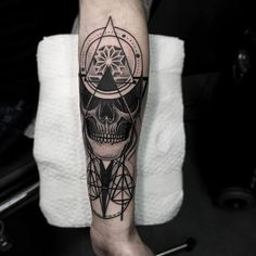 Blackwork Wrist Piece From Otheser! #blackwork #dotwork #dotism #skull #wrist #lines