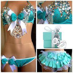 Tiffany Co. Inspired Rhinestone Rave Bra & Bottom by lipglosswear, $125.00