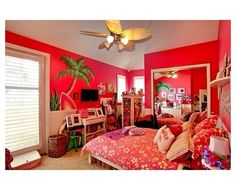 Beachy Bedroom Ideas Pink And Palm Tree Mural And Tropical Fan With Light  Over Floral Bed , Beachy Bedroom Ideas For Teenage Girl In Bedroom Category