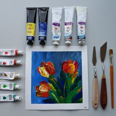 Acrylic tulip flower drawing. Palette knife techique Tulip Flower Drawing, Flower Art, Acrylic Colors, Paint Colors, Tulips Flowers, Palette Knife, Drawings, Tableware, Painting