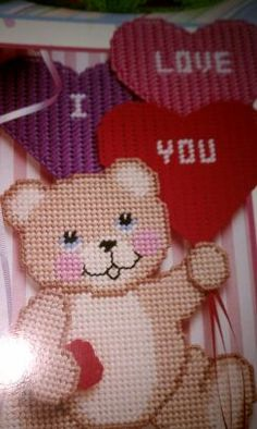 Valentines plastic canvas bear and balloons