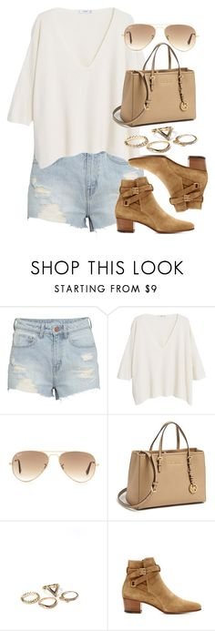 """""""Style #10296"""" by vany-alvarado ❤ liked on Polyvore featuring H&M, MANGO, Ray-Ban, MICHAEL Michael Kors and Yves Saint Laurent"""