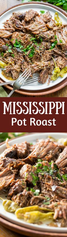 Mississippi Pot Roast - a tender, well flavored slow cooker pot roast with pepperoncini peppers and a simple homemade ranch dressing. Briny little pepperoncini peppers add a spicy punch of flavor, and it couldn't be easier to make! www.savingdessert.com