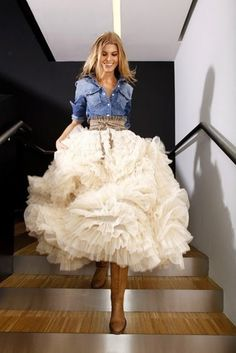 This would be a fun alternative for a reception dress for a ranch wedding in a barn or something
