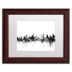 Michael Tompsett 'Ottawa Canada Skyline B&w' Matted Framed Art
