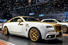 White and gold  custom Rolls royce wraith