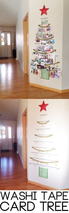 (UPDATE pg 6 w/pic!) - Page 2 Washi Tape Tree! A festive way to organize all of your holiday cards. A festive way to organize all of your holiday cards. Noel Christmas, All Things Christmas, Winter Christmas, Homemade Christmas, Cheap Christmas, Country Christmas, Christmas Baubles, Christmas 2017, Outdoor Christmas