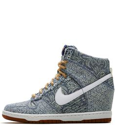 Nike x Liberty Light Blue Crown and Lora Liberty Print Dunk Sky Hi Wedge Trainers - totally WANT them