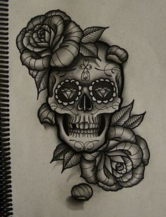 Roses And Sugar Skull Tattoo Designs photo - 4