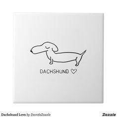 Dachshund Love Ceramic Tile  #cute #cartoon #dachshund #dog #pet #line #drawing #illustration #black #white #fun #love #heart #buy #sale #zazzle #friend #family #home #decor #kitchen #dining #interior #design #apartment #dorm #college #student