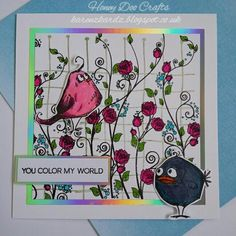 Honey Doo Crafts Rose Trellis, Rose Trellis background and Tim Holtz Crazy Birds stamps #honeydoocrafts #rosetrellis #rosetrellisbackground #timholtz #crazybirdstamps #kuretakezig #distressinks #stamping #stamps #handmade #cardmaking #cards #craft