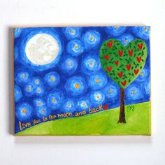 I LOVE YOU to the Moon and Back 10x8x3/4 Acrylic Canvas Wall Art for Nursery by nJoy Art via Etsy.