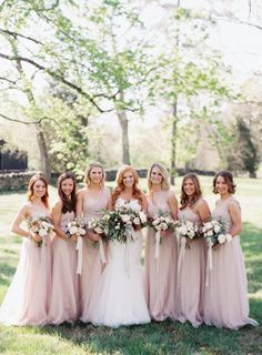 Gorgeous pale pink bridesmaids: http://www.stylemepretty.com/tennessee-weddings/nashville/2015/08/28/charming-burgundy-and-cream-nashville-wedding/ | Photography: Cassidy Carson -http://www.cassidycarsonphotography.com/#cassidy-carson-photography