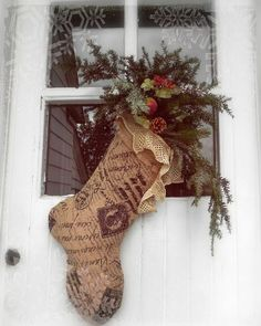 Love this burlap and lace stocking!