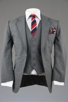 Vintage Gray Pinstripe 100% Wool 3 Piece Wedding Suit 38 S Monkey Suit from ModLines