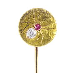 Victorian Diamond, Ruby and Gold Spider Tie Pin