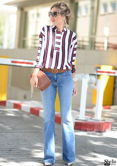 the–one:   Red White Striped Blouse via Shein - TheStyleShaker.com