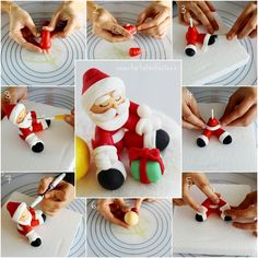 A photo tutorial and instructions on how to make this charming Santa Clause. Fondant Christmas Cake, Christmas Themed Cake, Christmas Cake Designs, Christmas Cake Topper, Christmas Cake Decorations, Holiday Cakes, Fondant Figures Tutorial, Cake Topper Tutorial, Fondant Toppers
