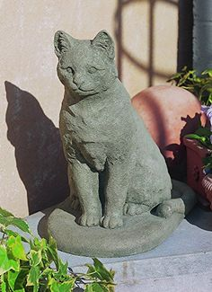Amazon.com : Campania International A-228-GS Garden Cat Statue, Grey Stone Finish : Outdoor Statues : Patio, Lawn & Garden