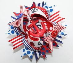 Nautical Anchor Boutique Hair Bow for Babies/Toddlers/Girls - Now that's a bow!