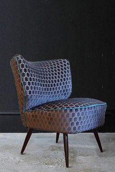 Upcycled 1950s Bartholomew Cocktail Chair - Eclipse Grey Underground Velvet