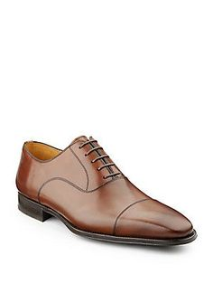 Magnanni for Saks Fifth Avenue Antiqued Lace-Up Dress Shoes - Tobacco