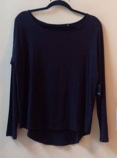 NWT TAHARI WOMEN'S SOLID BLACK RAYON/SPANDEX LONG SLEEVE BLOUSE SIZE M-$88 #Tahari #Blouse