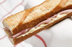 The Parisian - French food - A Ham, Swiss cheese and Butter sandwich on baguette ( Jambon-beurre) French Eggs, French Food, French Snacks, Ham And Butter Sandwich, French Sandwich, Baguette Sandwich, Ideas Sándwich, French Baguette, Good Food