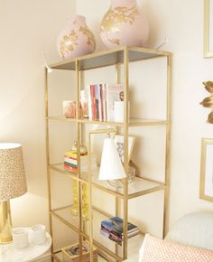 Gold etagere made from an Ikea hack