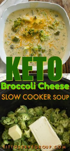 a keto broccoli cheese slow cooker soup that is easy to make, low in carbs, gluten-free and thickened with only cheesy goodness. It's a low carb broccoli cheese soup that everyone will enjoy.It's a keto broccoli cheese slow cooker soup that. Keto Crockpot Recipes, Diet Recipes, Healthy Recipes, Recipes Dinner, Crockpot Low Carb Meals, Bariatric Recipes, Diet Meals, Juice Recipes, Seafood Recipes