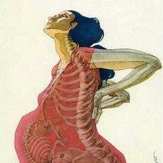 made by: Enric Huguet , Spanish graphic designer , 'See trough bones' - illustration, pregnancy Art And Illustration, Illustrations, Birth Art, Anatomy Art, Human Anatomy, Love Art, Dark Art, Female Bodies, Art Drawings