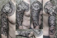 elaborate floral and geometric pattern tattoo by chaim machlev, blackwork