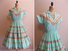 Vintage 1950s 1960s Dress Patio Western Wear Rockabilly Dress