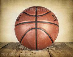Vintage Style Photo Print, Basketball on Rustic Wood, Boys Room, Wall Decor, Wall Art, Man Cave, Nursery Ideas, Gift Ideas Decorating Ideas
