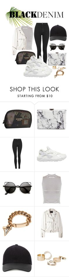 """Black Jeans"" by lxtifa on Polyvore featuring Chanel, Balenciaga, Topshop, NIKE, WearAll, Givenchy, R13, Canali, MANGO and women's clothing"