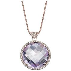 Preowned Round Amethyst Necklace With Diamonds (small) ($2,250) ❤ liked on Polyvore featuring jewelry, necklaces, pendant necklaces, purple, diamond halo necklace, purple heart necklace, round diamond necklace, purple amethyst necklace and diamond bezel necklace
