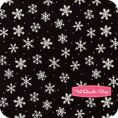 Skater's Village Black Snowflakes Yardage SKU# 33819-3 - Christmas Cloth Store